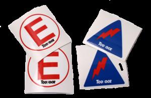 Adesivi attaccabatterie e adesivi estinzione